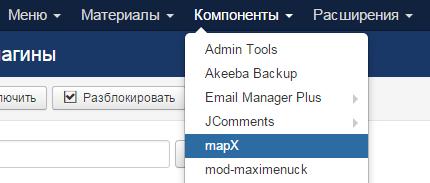 mapX menu